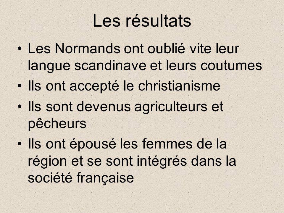 Les résultats Les Normands ont oublié vite leur langue scandinave et leurs coutumes Ils ont accepté le christianisme Ils sont devenus agriculteurs et
