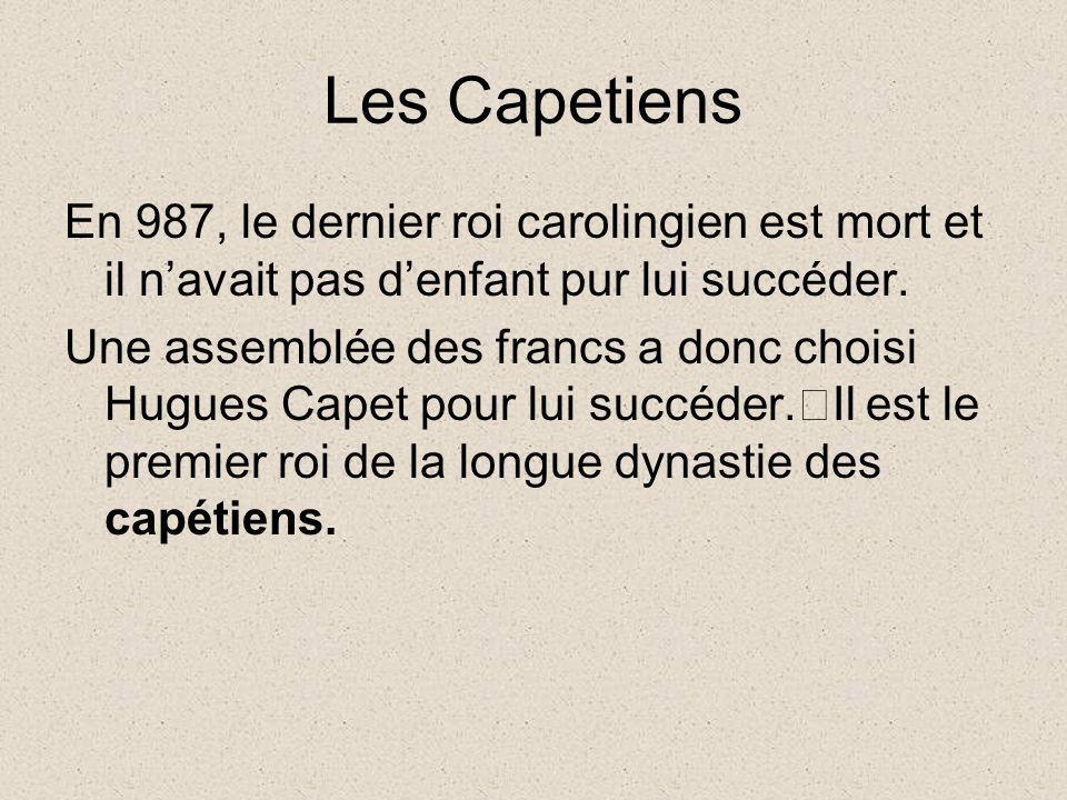 Les Capetiens En 987, le dernier roi carolingien est mort et il navait pas denfant pur lui succéder. Une assemblée des francs a donc choisi Hugues Cap