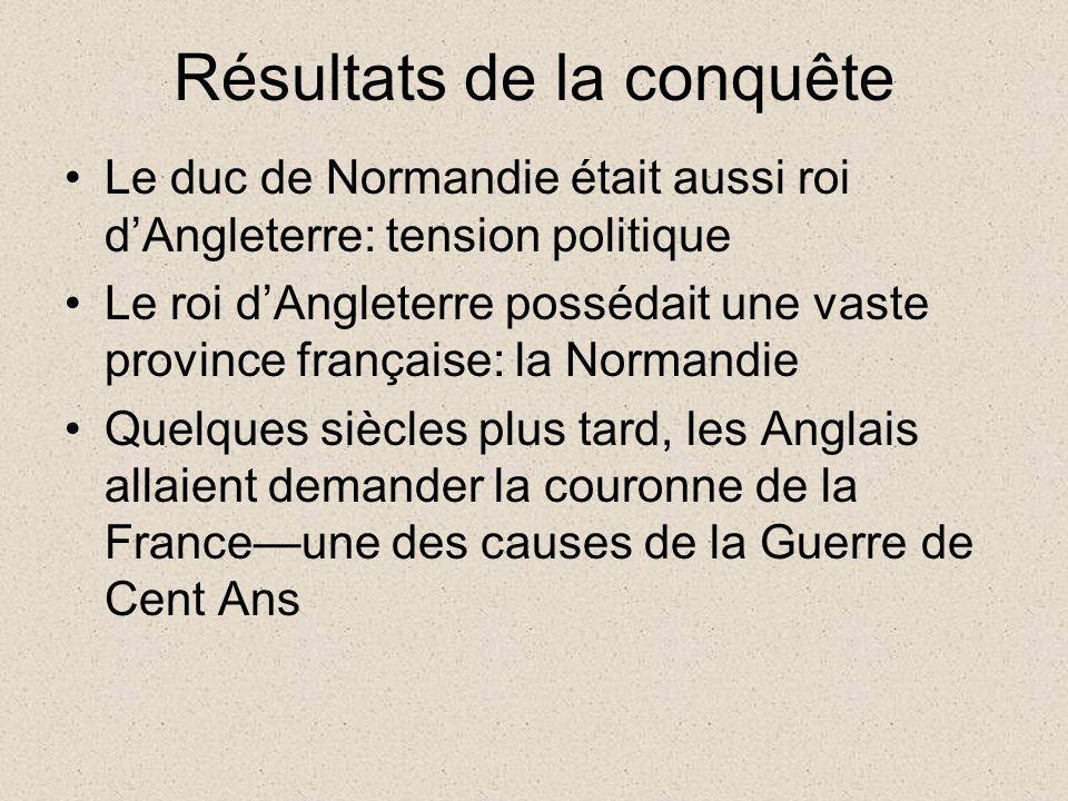 Résultats de la conquête Le duc de Normandie était aussi roi dAngleterre: tension politique Le roi dAngleterre possédait une vaste province française: