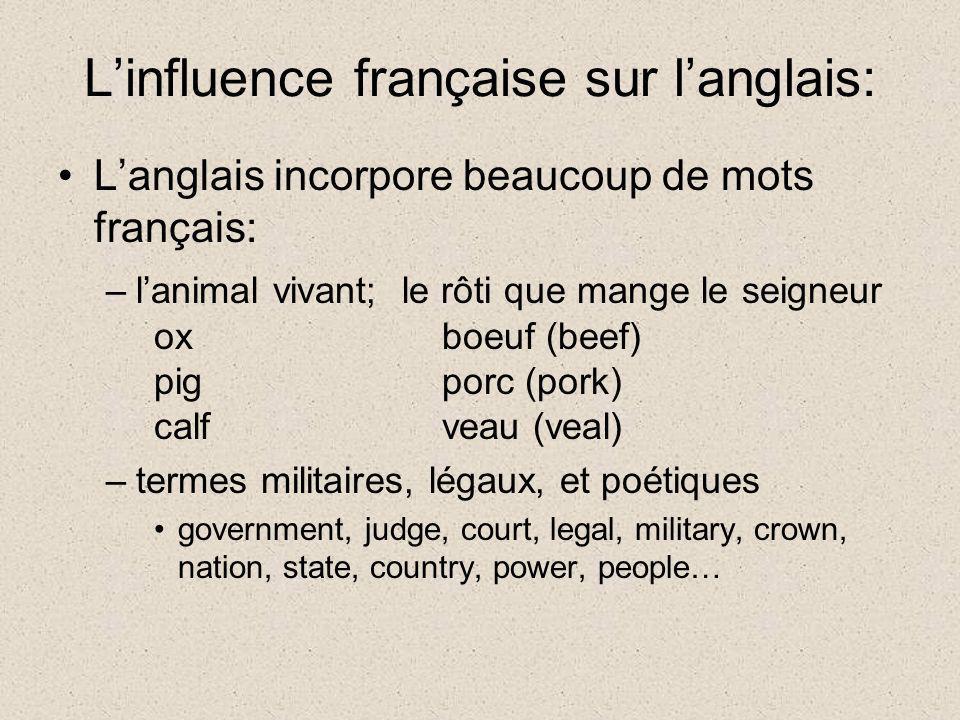 Linfluence française sur langlais: Langlais incorpore beaucoup de mots français: –lanimal vivant; le rôti que mange le seigneur oxboeuf (beef) pigporc