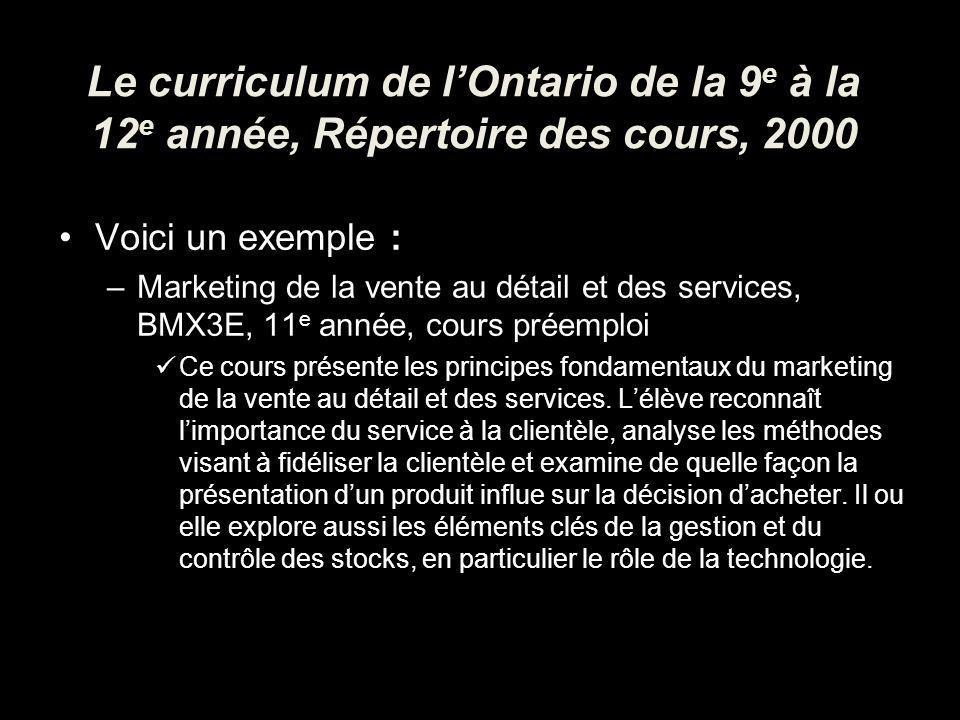 Le curriculum de lOntario de la 9 e à la 12 e année, Répertoire des cours, 2000 Voici un exemple : –Marketing de la vente au détail et des services, BMX3E, 11 e année, cours préemploi Ce cours présente les principes fondamentaux du marketing de la vente au détail et des services.