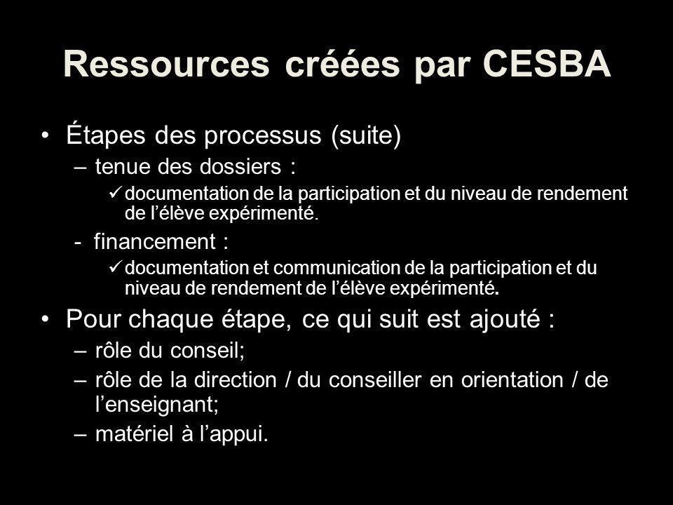 Ressources créées par CESBA Étapes des processus (suite) –tenue des dossiers : documentation de la participation et du niveau de rendement de lélève expérimenté.