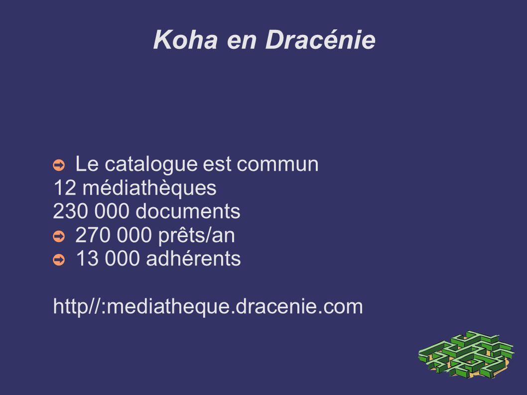 Koha en Dracénie Le catalogue est commun 12 médiathèques 230 000 documents 270 000 prêts/an 13 000 adhérents http//:mediatheque.dracenie.com
