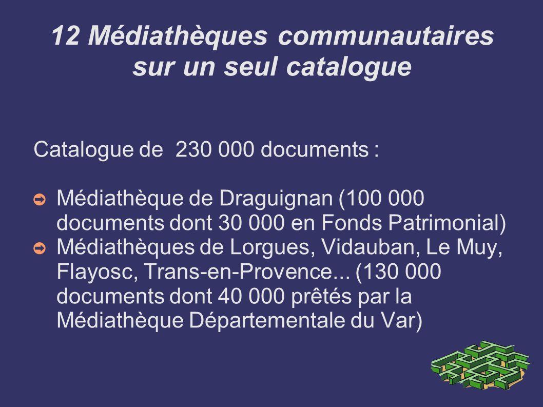 12 Médiathèques communautaires sur un seul catalogue Catalogue de 230 000 documents : Médiathèque de Draguignan (100 000 documents dont 30 000 en Fond