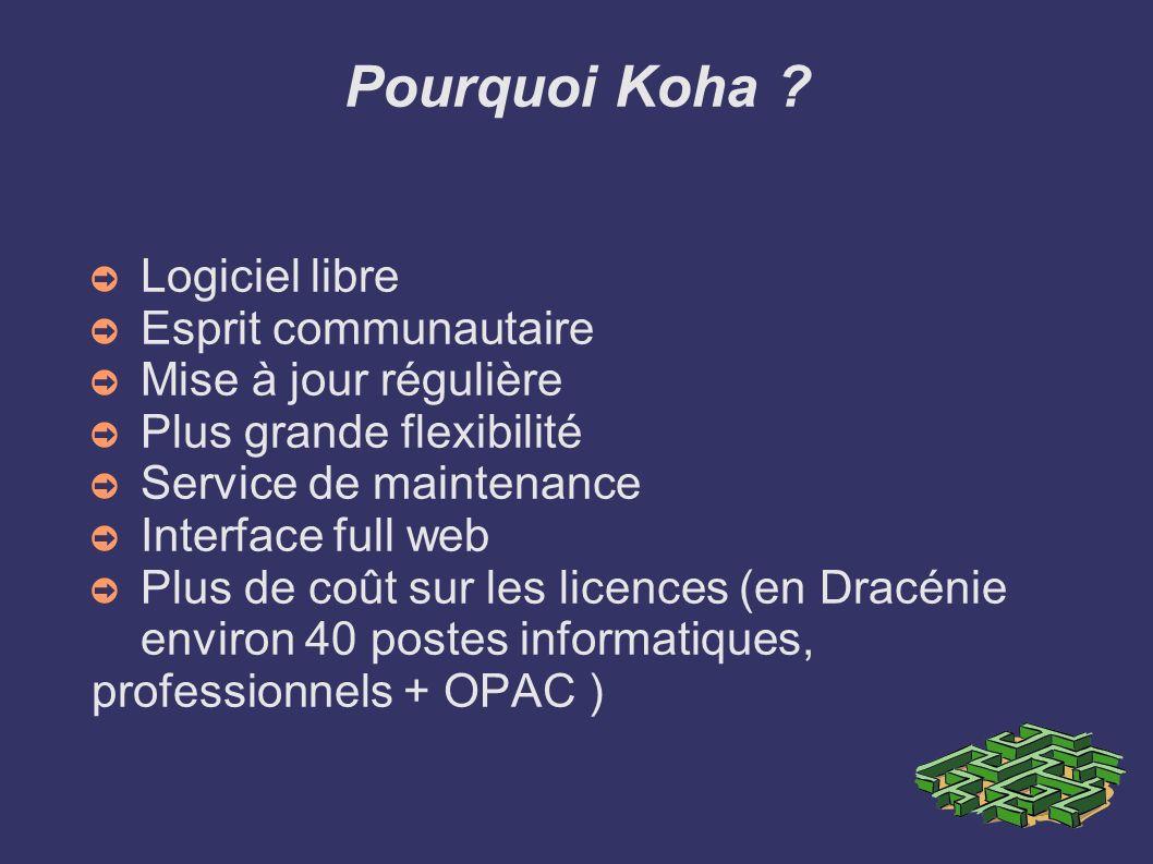 Pourquoi Koha ? Logiciel libre Esprit communautaire Mise à jour régulière Plus grande flexibilité Service de maintenance Interface full web Plus de co