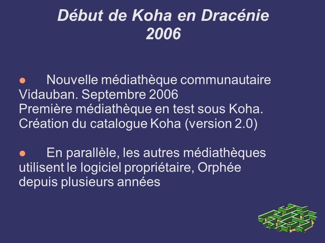 Début de Koha en Dracénie 2006 Nouvelle médiathèque communautaire Vidauban. Septembre 2006 Première médiathèque en test sous Koha. Création du catalog