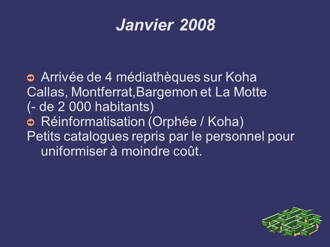 Juillet 2008 Premières migrations Passage d Orphée à Koha pour 3 médiathèques de + 5 000 habitants Trans-en-Provence, Flayosc et Lorgues 3 migrations catalogues en simultanées après 1 mois de test avec la société Biblibre (25 000 documents propres + 15 000 prêtés par la Médiathèque Départementale)