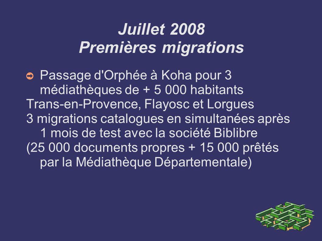 Juillet 2008 Premières migrations Passage d'Orphée à Koha pour 3 médiathèques de + 5 000 habitants Trans-en-Provence, Flayosc et Lorgues 3 migrations