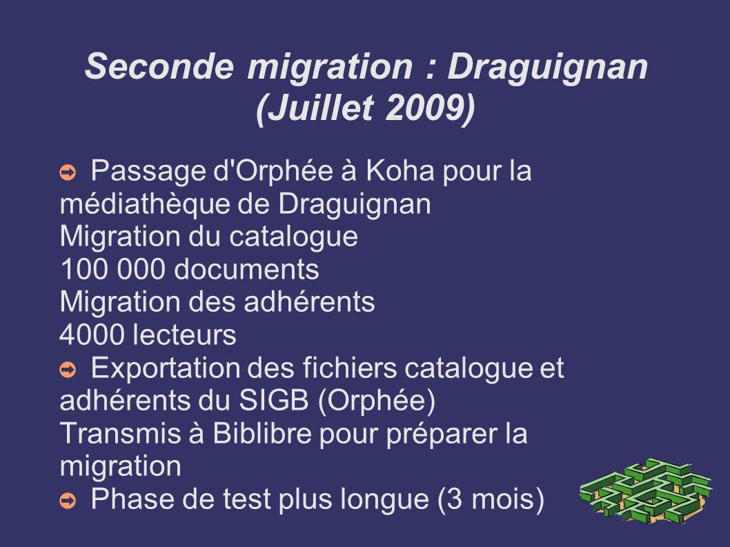 Seconde migration : Draguignan (Juillet 2009) Passage d'Orphée à Koha pour la médiathèque de Draguignan Migration du catalogue 100 000 documents Migra