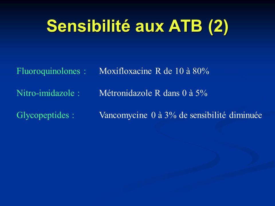 Sensibilité aux ATB (2) Fluoroquinolones : Moxifloxacine R de 10 à 80% Nitro-imidazole : Métronidazole R dans 0 à 5% Glycopeptides : Vancomycine 0 à 3