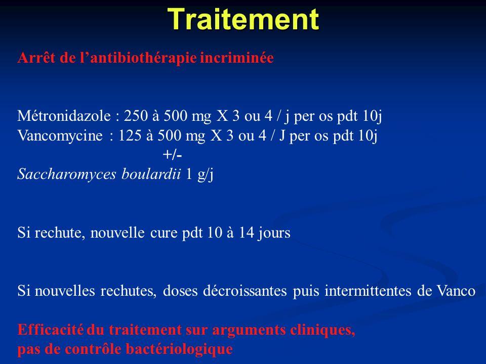 Traitement Arrêt de lantibiothérapie incriminée Métronidazole : 250 à 500 mg X 3 ou 4 / j per os pdt 10j Vancomycine : 125 à 500 mg X 3 ou 4 / J per o