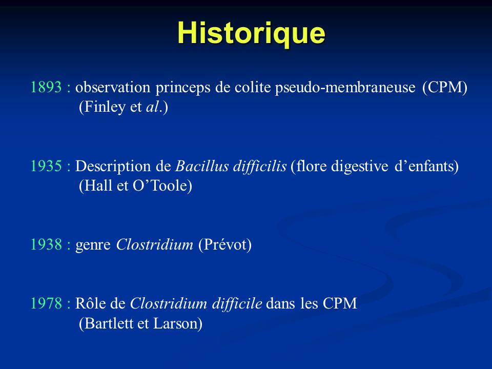 Historique 1893 : observation princeps de colite pseudo-membraneuse (CPM) (Finley et al.) 1935 : Description de Bacillus difficilis (flore digestive d