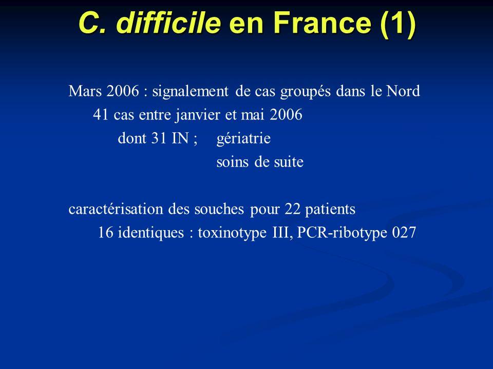 C. difficile en France (1) Mars 2006 : signalement de cas groupés dans le Nord 41 cas entre janvier et mai 2006 dont 31 IN ;gériatrie soins de suite c