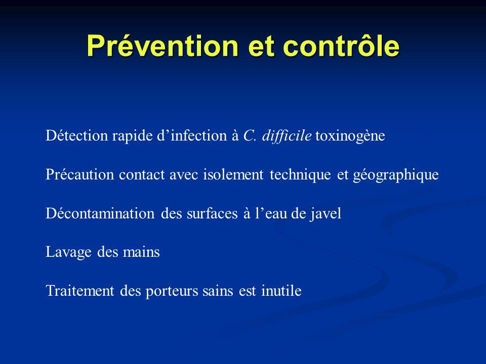 Prévention et contrôle Détection rapide dinfection à C. difficile toxinogène Précaution contact avec isolement technique et géographique Décontaminati