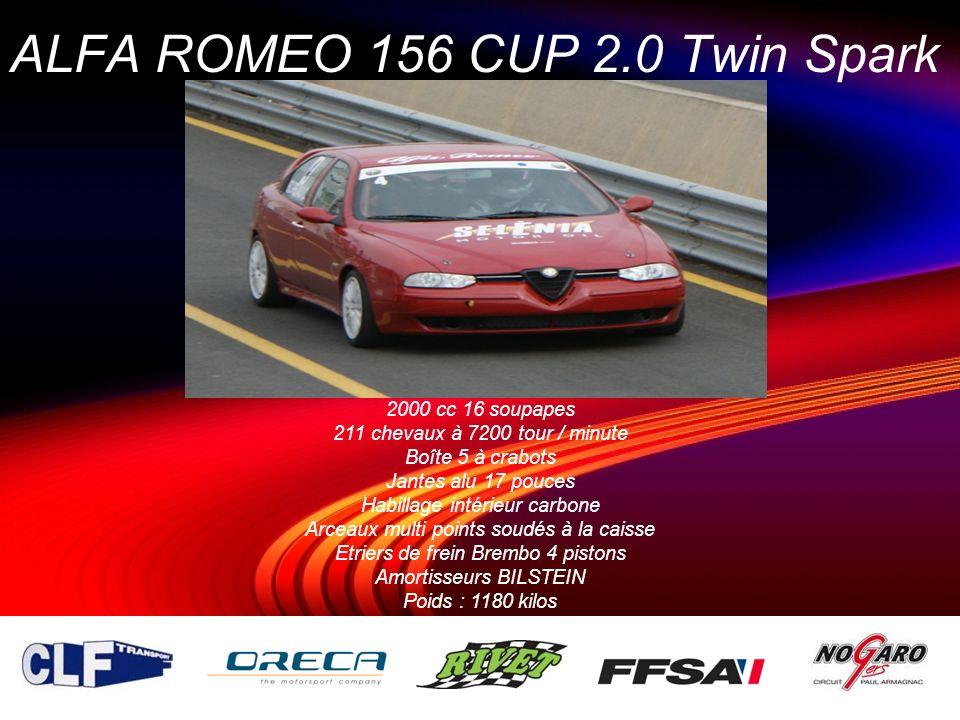 ALFA ROMEO 156 CUP 2.0 Twin Spark 2000 cc 16 soupapes 211 chevaux à 7200 tour / minute Boîte 5 à crabots Jantes alu 17 pouces Habillage intérieur carb
