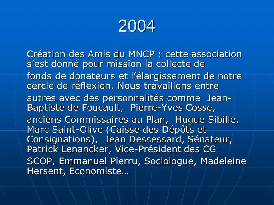 2004 Création des Amis du MNCP : cette association sest donné pour mission la collecte de fonds de donateurs et lélargissement de notre cercle de réflexion.