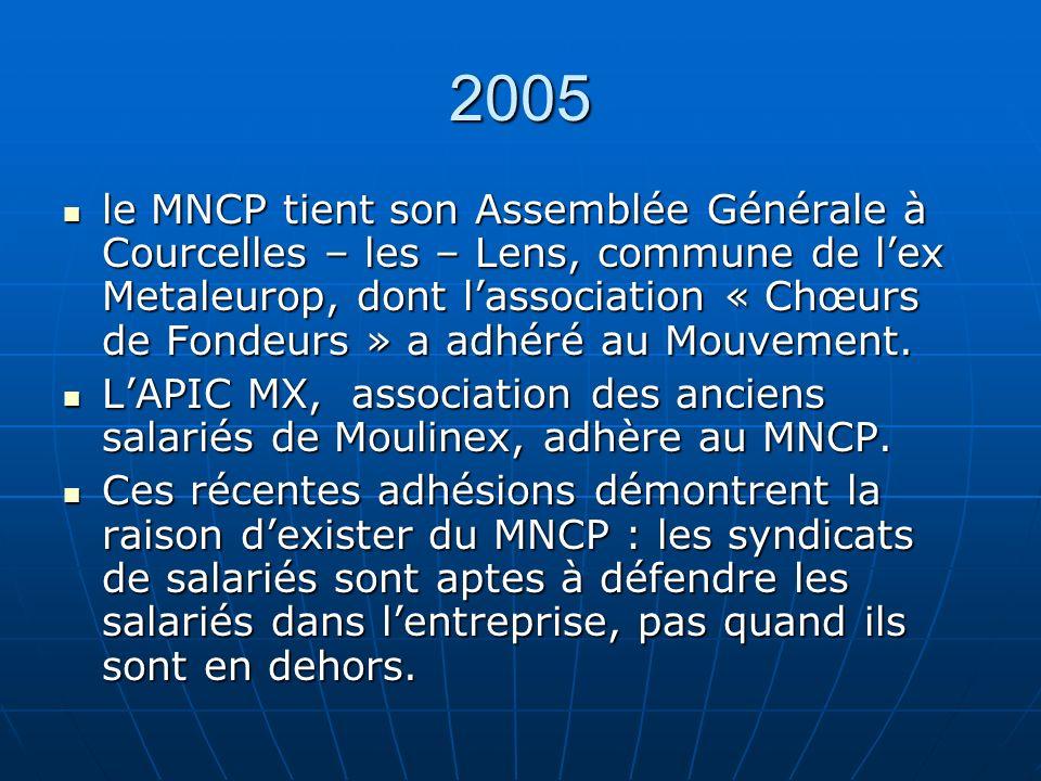 2005 le MNCP tient son Assemblée Générale à Courcelles – les – Lens, commune de lex Metaleurop, dont lassociation « Chœurs de Fondeurs » a adhéré au Mouvement.