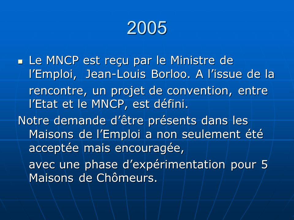 2005 Le MNCP est reçu par le Ministre de lEmploi, Jean-Louis Borloo.