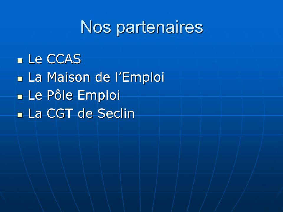 Nos partenaires Le CCAS Le CCAS La Maison de lEmploi La Maison de lEmploi Le Pôle Emploi Le Pôle Emploi La CGT de Seclin La CGT de Seclin