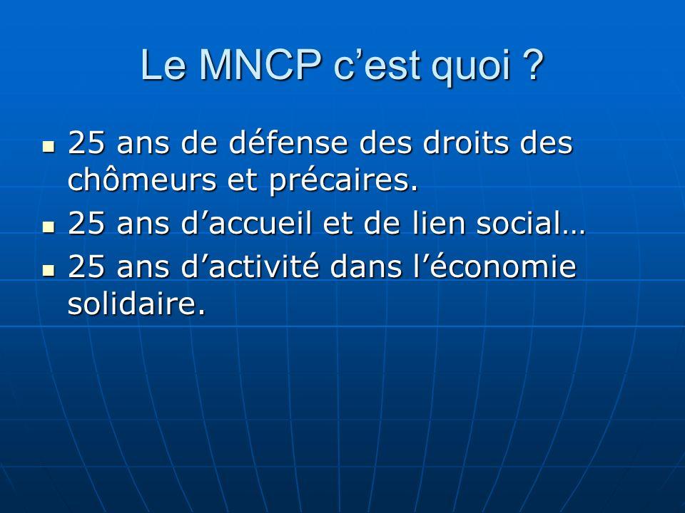 Le MNCP cest quoi . 25 ans de défense des droits des chômeurs et précaires.