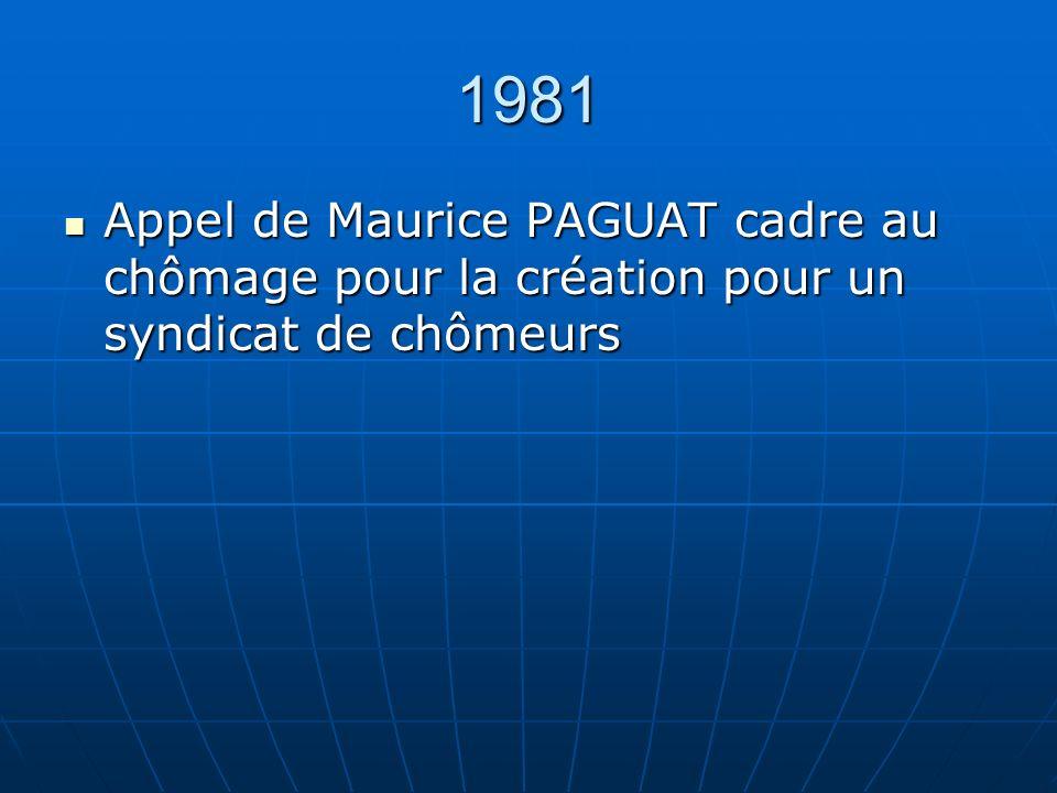1981 Appel de Maurice PAGUAT cadre au chômage pour la création pour un syndicat de chômeurs Appel de Maurice PAGUAT cadre au chômage pour la création pour un syndicat de chômeurs