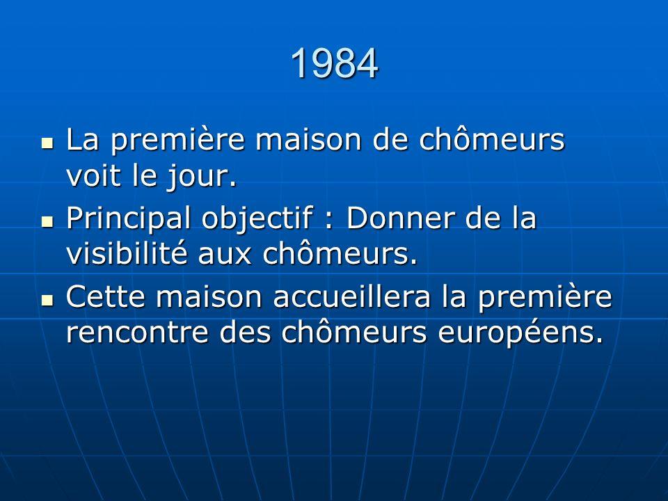 1984 La première maison de chômeurs voit le jour. La première maison de chômeurs voit le jour.