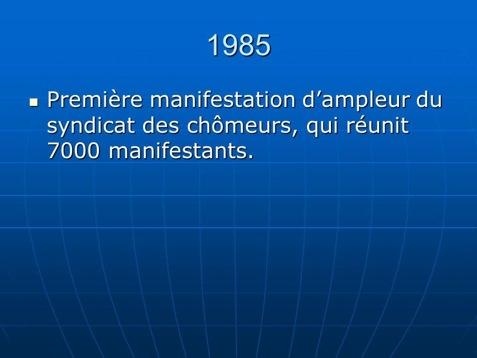 1985 Première manifestation dampleur du syndicat des chômeurs, qui réunit 7000 manifestants.
