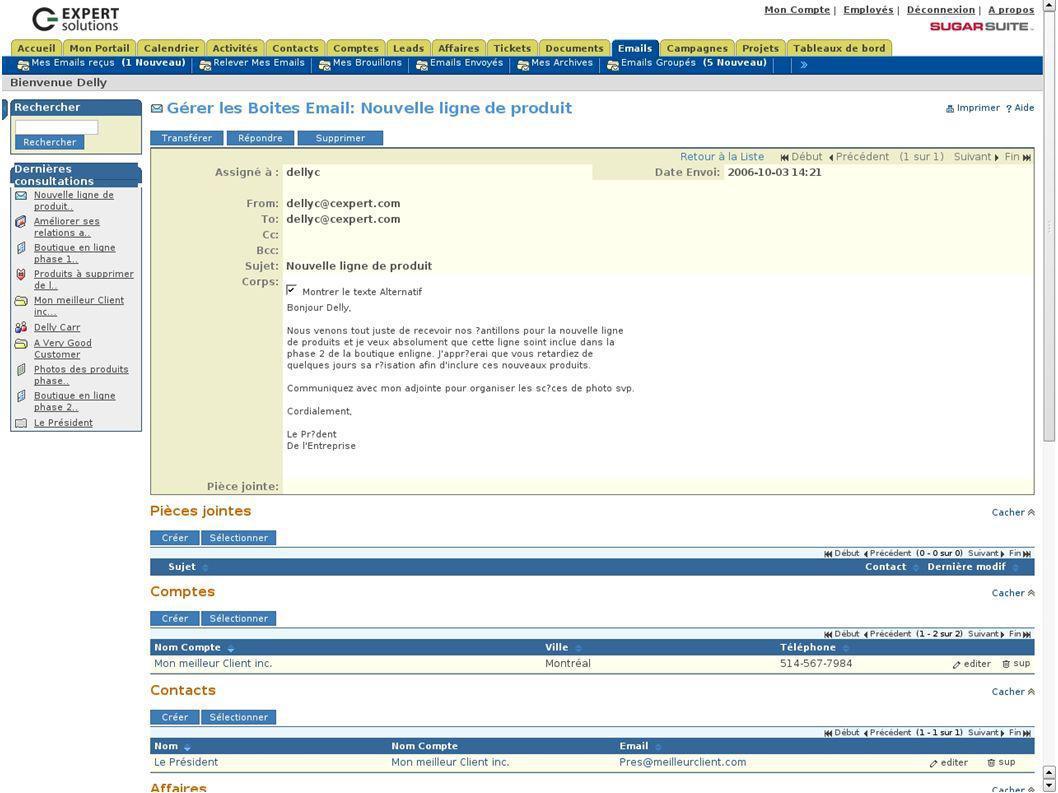 SugarCRM Accès Détaillés au Dossier Clients Centralisés... Detailed Access to Centralised Customer Files