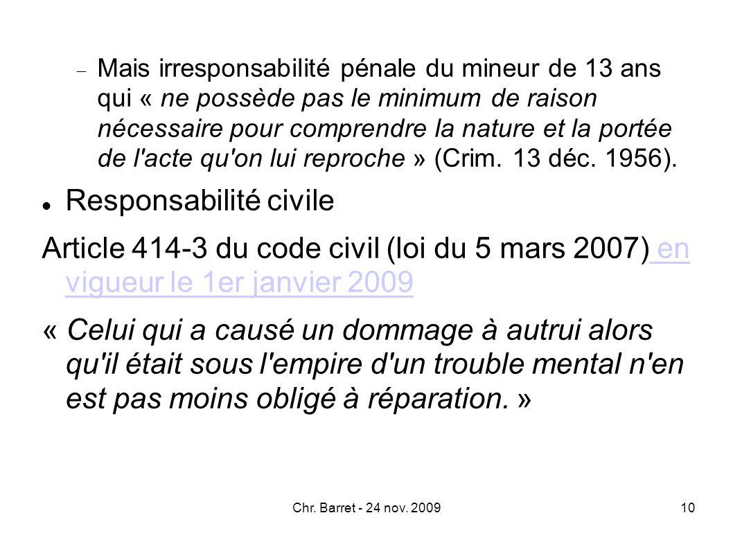 II.Responsabilité et culpabilité Culpabilité et responsabilité pénale Loi du 25 février 2008 (art.