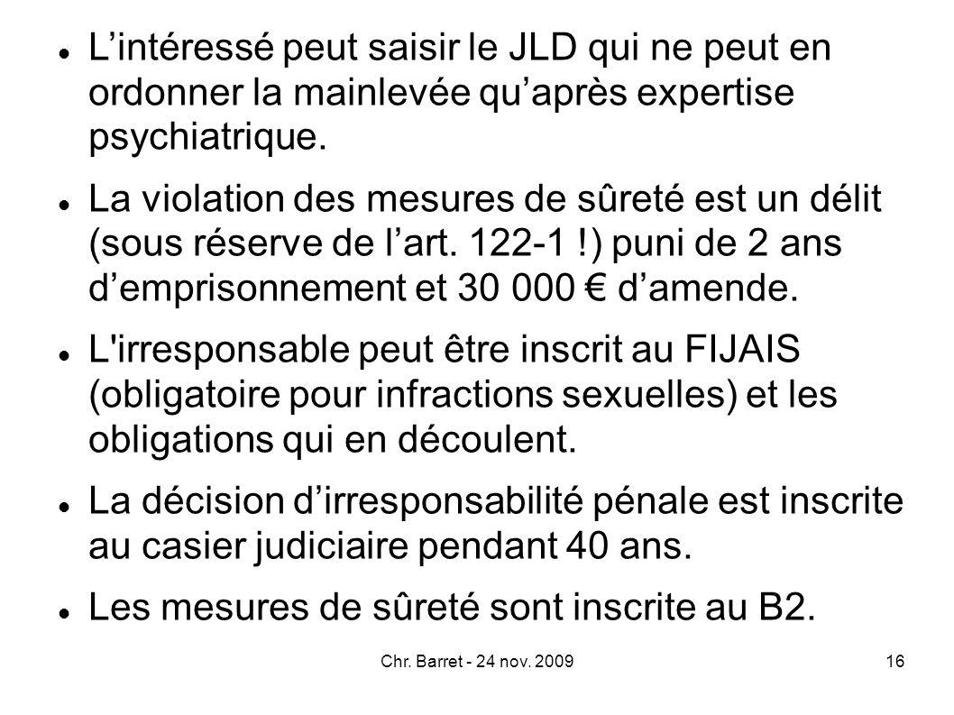 III.Irresponsabilité pénale : réponses judiciaires et administratives Coordination des réponses judiciaires et réponses administratives La ch.