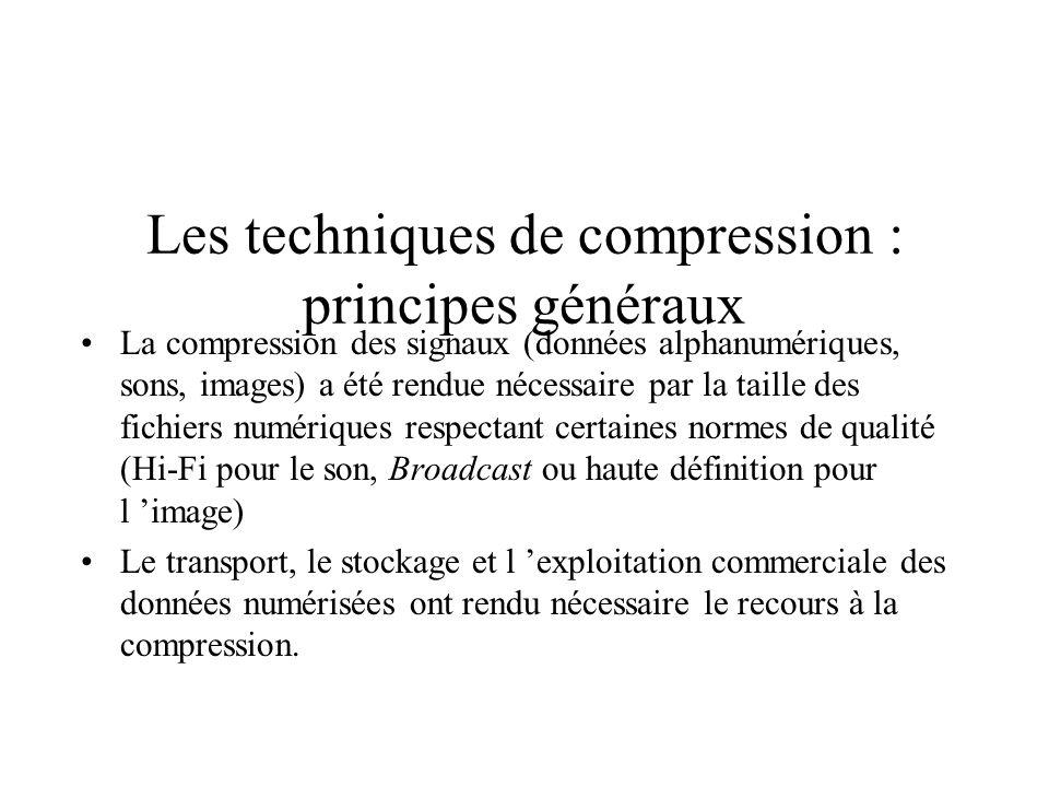 La compression des données et signaux Les techniques de compression : principes généraux La compression du son La compression de l image fixe La compr