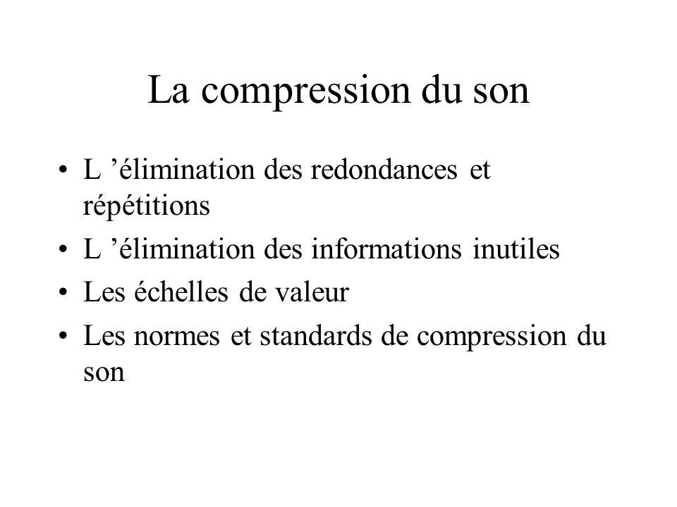 Les techniques de compression : principes généraux La compression des signaux (données alphanumériques, sons, images) a été rendue nécessaire par la t