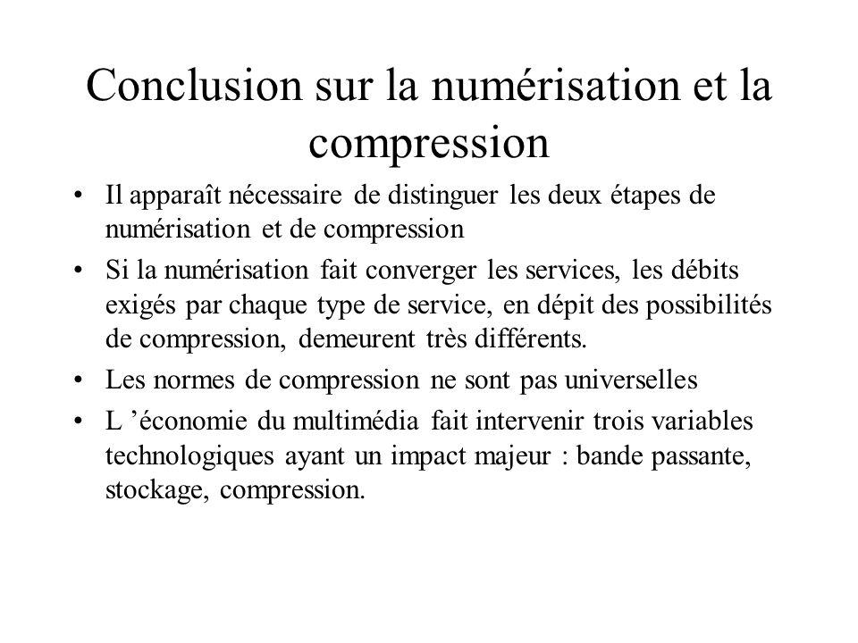 La compression : un choix entre qualité (résolution) et facilité d acheminement (transport) Le choix de la compression implique un équilibre entre la
