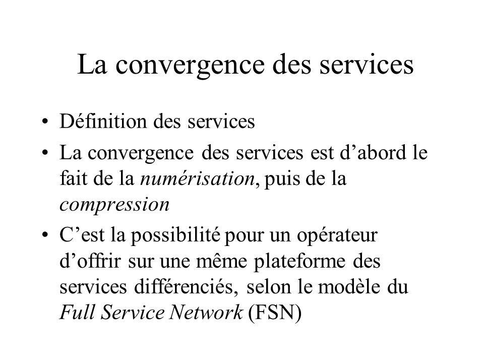 La convergence des services Définition des services La convergence des services est dabord le fait de la numérisation, puis de la compression Cest la possibilité pour un opérateur doffrir sur une même plateforme des services différenciés, selon le modèle du Full Service Network (FSN)