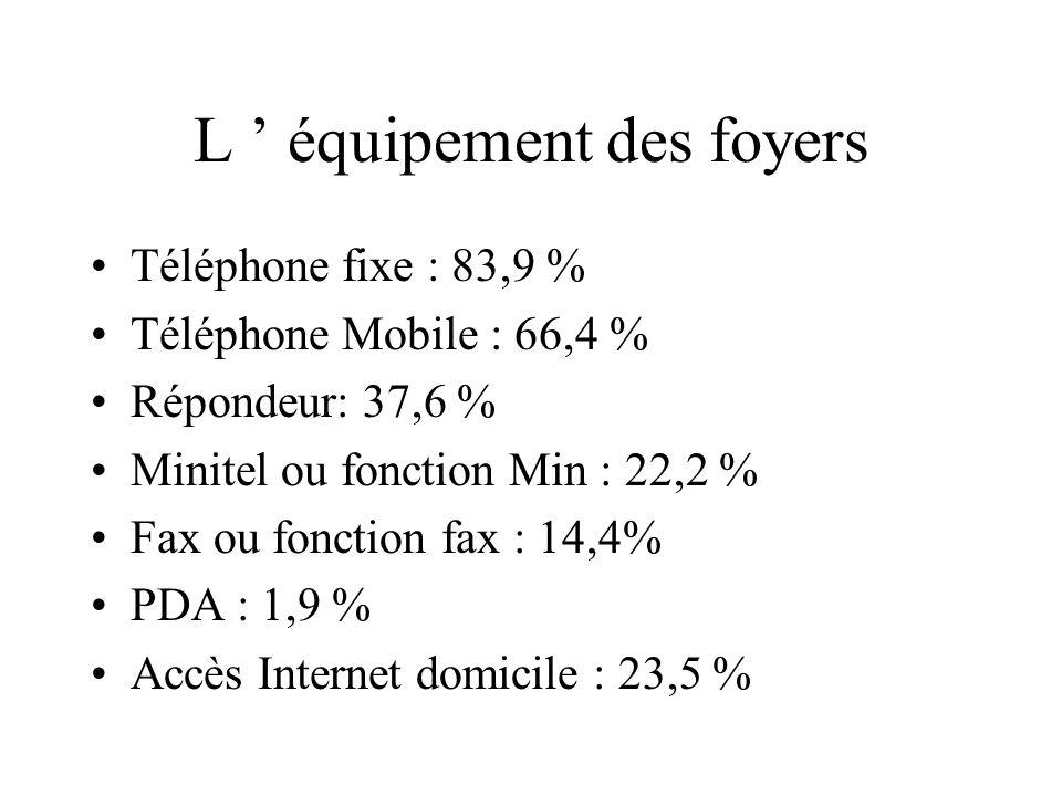 L équipement des foyers PC : 38,6 % Imp. : 33,3% CDRom: 33,1% Modem : 26% Console de Jeux: 23% Graveur CD : 17,6% Scanner : 17,6%