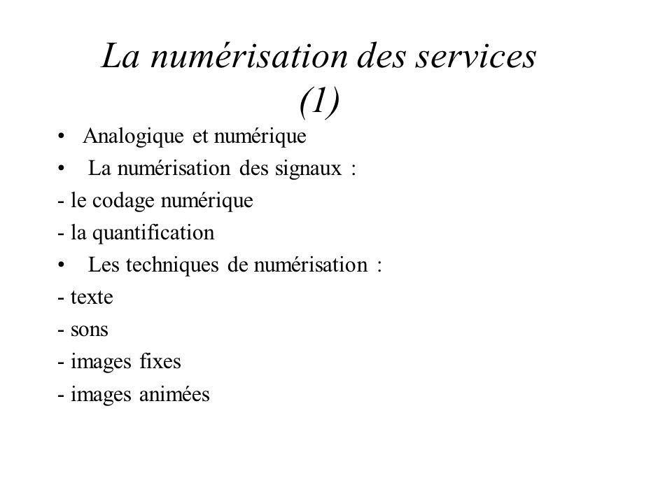 La numérisation des services (1) Analogique et numérique La numérisation des signaux : - le codage numérique - la quantification Les techniques de numérisation : - texte - sons - images fixes - images animées