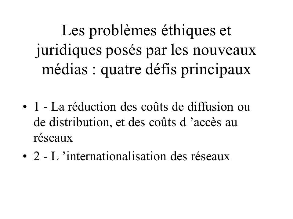 IV - Réseaux multimedia: les règles du jeu Problèmes éthiques et juridiques- systèmes de protection