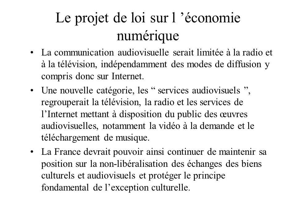 Les nouvelles formes de régulation Une catégorie nouvelle, la communication au public, serait instituée, et regrouperait désormais la communication pu