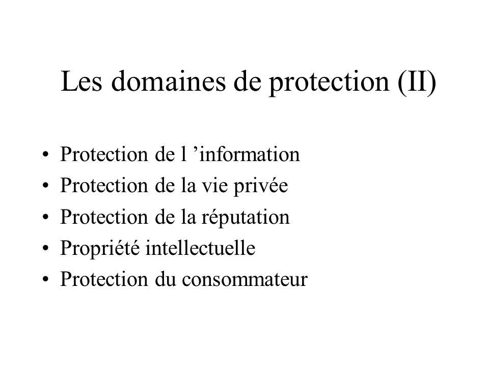 Les domaines de protection (I) Sécurité nationale Sécurité économique Protection des mineurs Protection de la dignité humaine