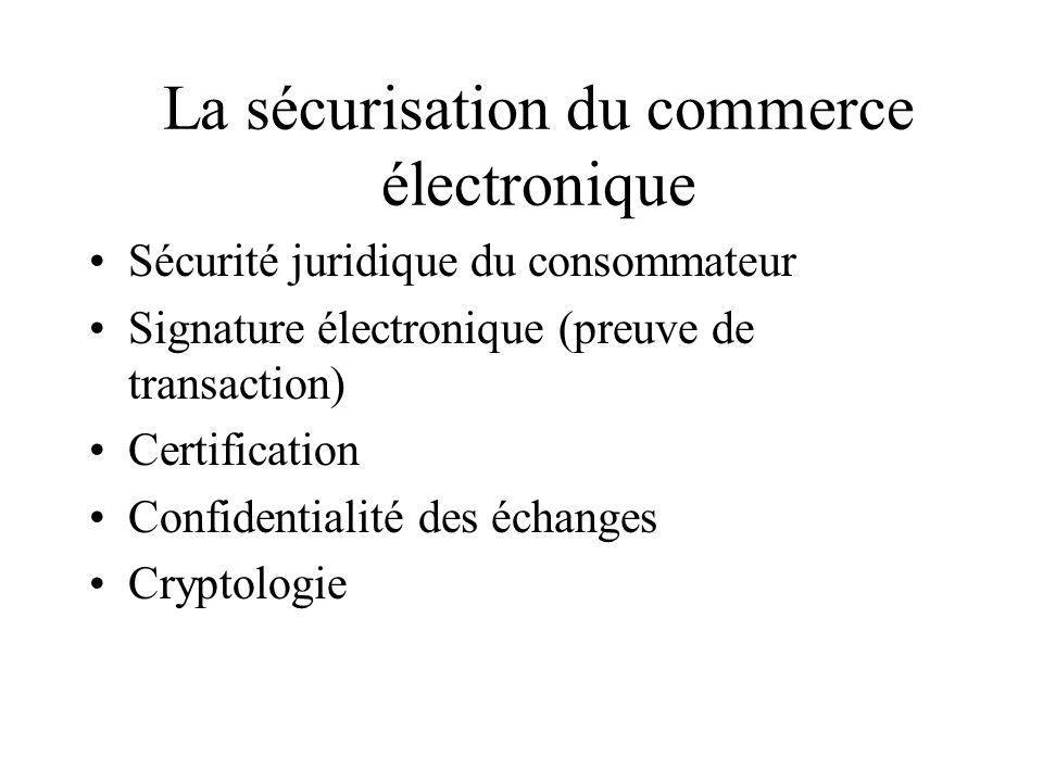 La protection des données personnelles et de la vie privée Les solutions : solutions légales (exemple : France) solutions d autorégulation (envisagées