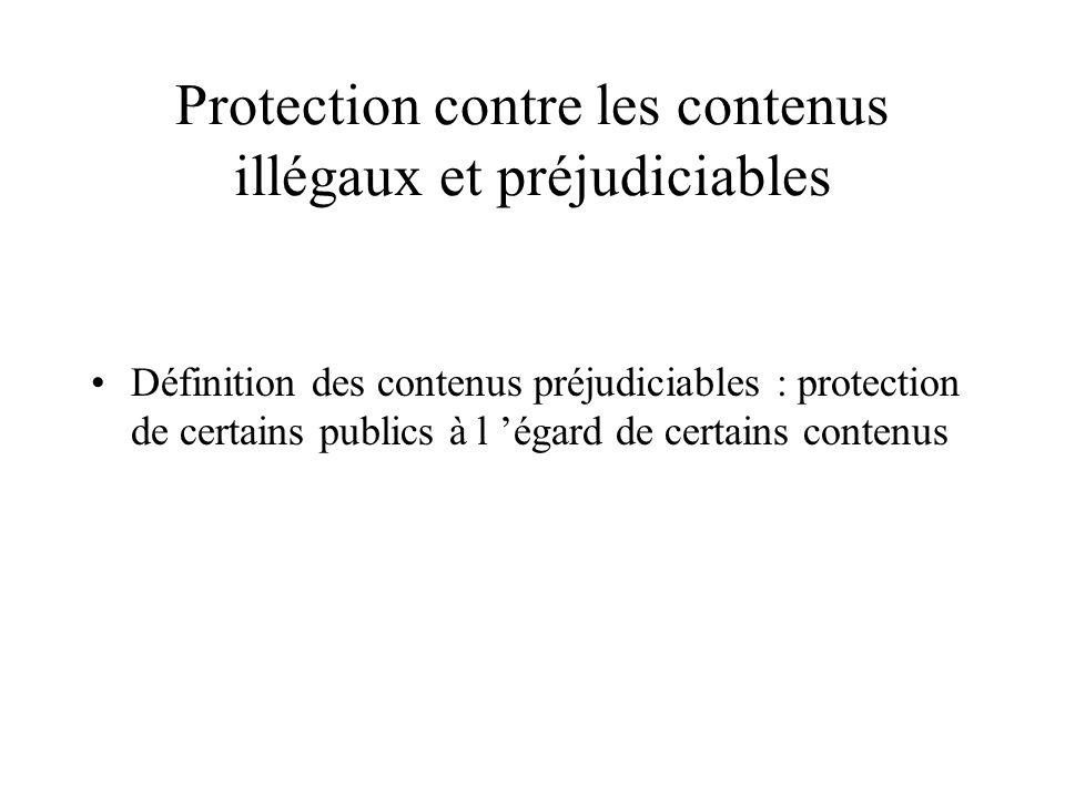 Protection contre les contenus illégaux et préjudiciables Définition des contenus illégaux : Tout ce qui peut constituer un délit ou un crime - variab