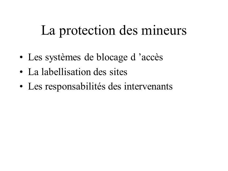 Protection contre les contenus illégaux et préjudiciables Définition des contenus préjudiciables : protection de certains publics à l égard de certain