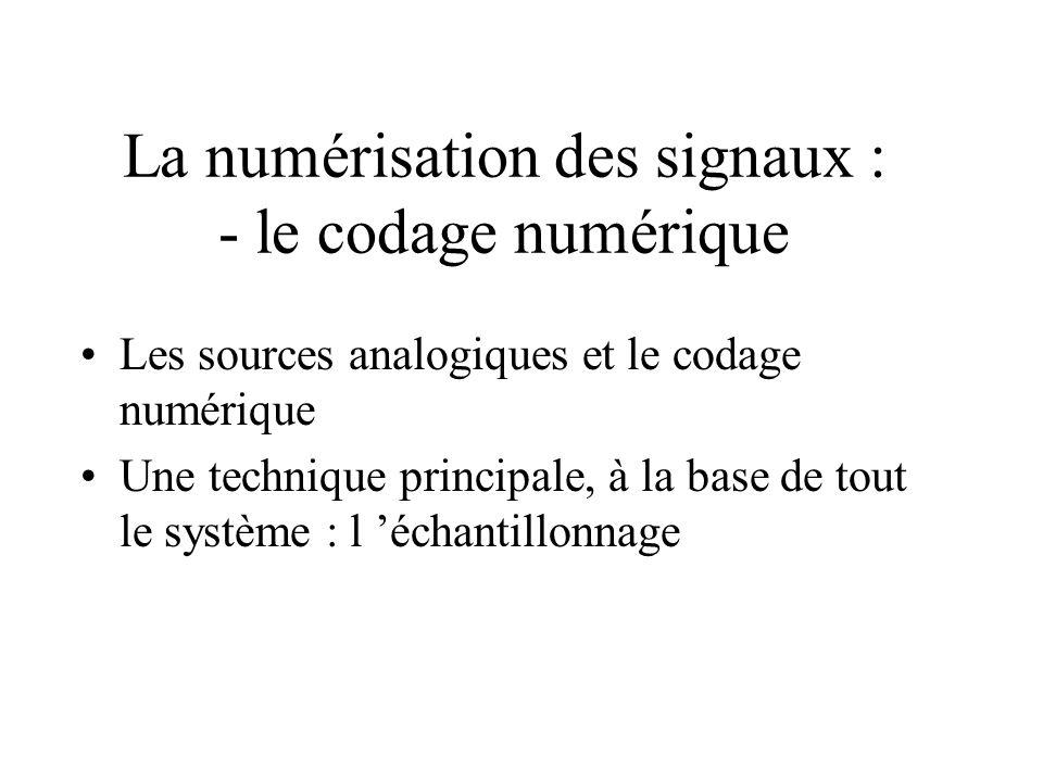 La numérisation des signaux : - le codage numérique Les sources analogiques et le codage numérique Une technique principale, à la base de tout le système : l échantillonnage