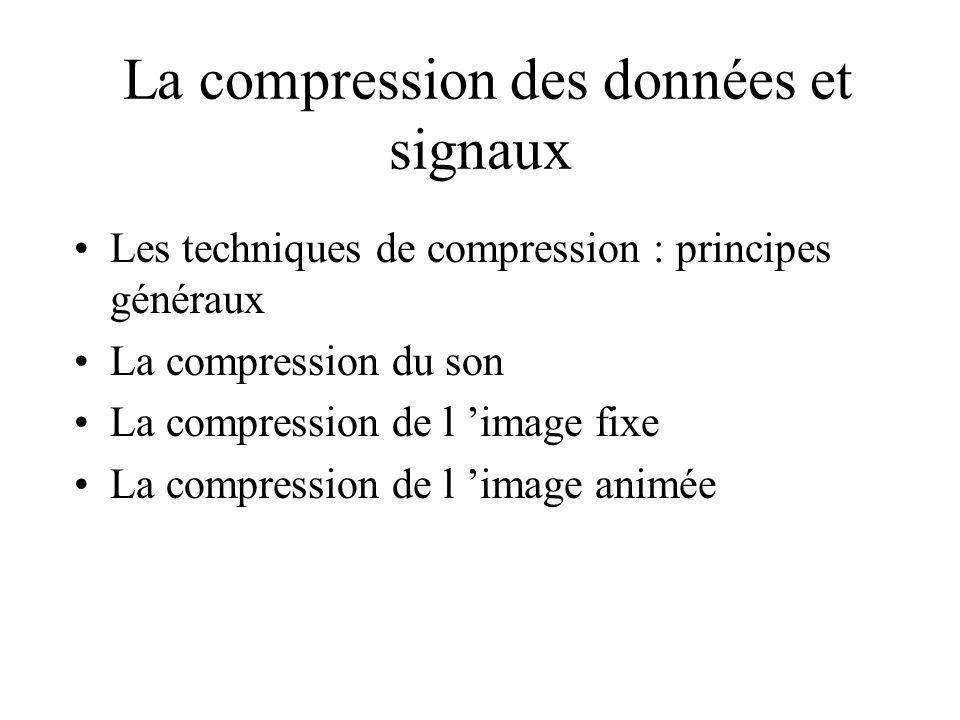 La compression des données et signaux Les techniques de compression : principes généraux La compression du son La compression de l image fixe La compression de l image animée