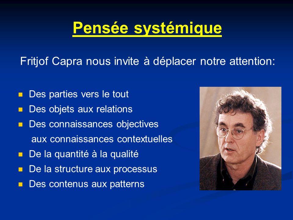 Pensée systémique Fritjof Capra nous invite à déplacer notre attention: Des parties vers le tout Des objets aux relations Des connaissances objectives