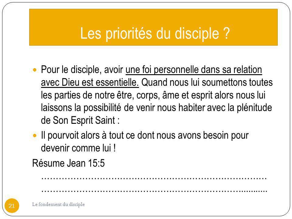 Les priorités du disciple ? Pour le disciple, avoir une foi personnelle dans sa relation avec Dieu est essentielle. Quand nous lui soumettons toutes l