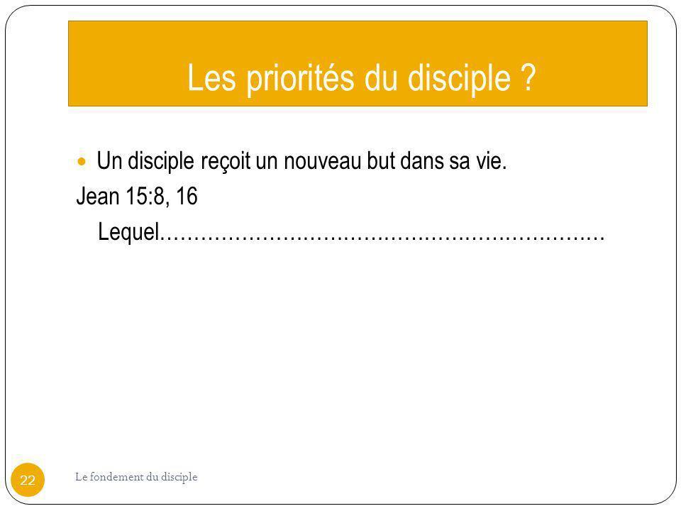 Les priorités du disciple ? Un disciple reçoit un nouveau but dans sa vie. Jean 15:8, 16 Lequel………………………………………………………… 22 Le fondement du disciple