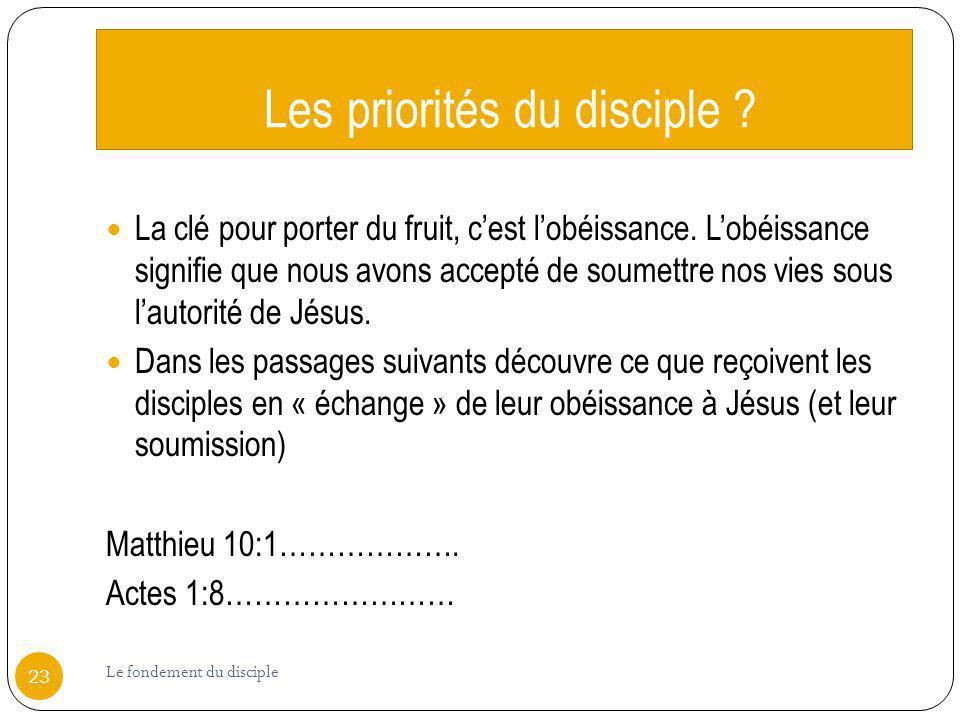 Les priorités du disciple ? La clé pour porter du fruit, cest lobéissance. Lobéissance signifie que nous avons accepté de soumettre nos vies sous laut