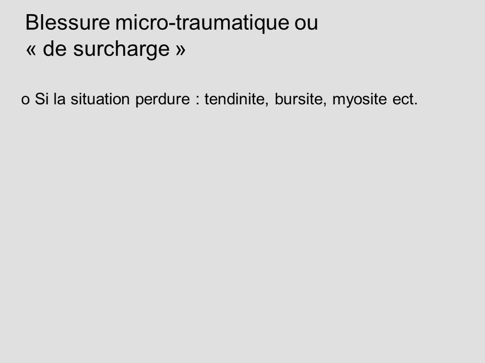 Blessure micro-traumatique ou « de surcharge » o Si la situation perdure : tendinite, bursite, myosite ect.