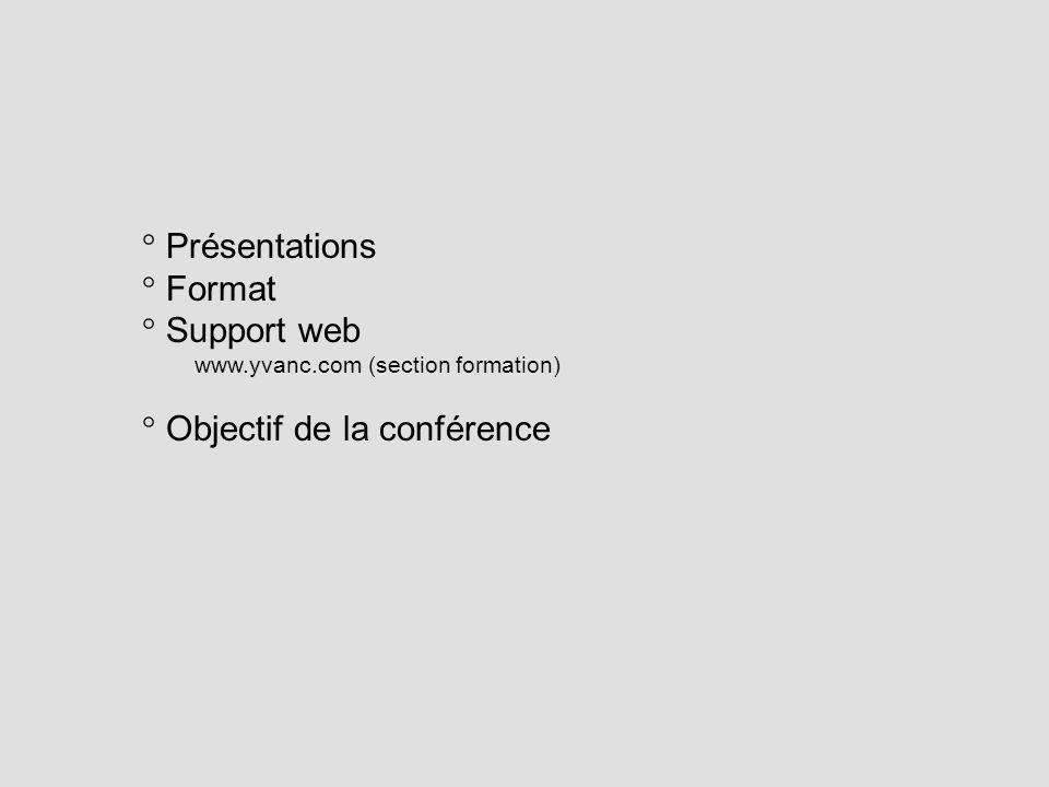 Présentations Format Support web www.yvanc.com (section formation) Objectif de la conférence